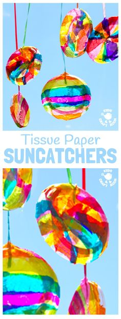 TISSUE PAPER SUNCATCHER These DIY suncatchers are a gorgeous Summer for kids. They look so bright and colourful and are super easy to make for all ages. Tissue Paper Crafts, Paper Crafts For Kids, Crafts For Kids To Make, Fun Crafts, Craft Kids, Children Crafts, Summer Crafts For Toddlers, Kids Craft Projects, Easy Art For Kids