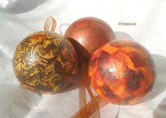 """Boule décoration """"le feu"""" ! Lot de 3 Boules incassables décoration par collage de papier de soie, sur matière polystyrène : Accessoires de maison par creasoize"""