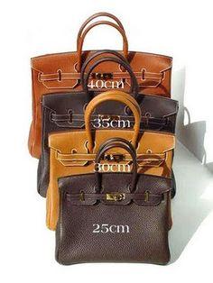Hermes Birkin sizes- I will take one of each please  ) hermes bags,hermes  handbags,fashion bags,women style 2015 3023f37a94