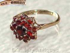 Vintage jewellery 9ct Gold and Garnet Cluster Ring Size M (UK) (US Size 6 1/2) Hallmarked for Birmingham 1971