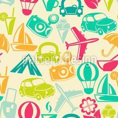 Traveling Design Pattern by Lidiebug at patterndesigns.com Vector Pattern, Pattern Design, Wedding Motifs, Balloon Rides, Travel Design, World Traveler, Your Design, Balloons, Cartoon