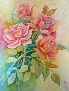 Watercolor Painting of Roses done in a Negative by sherryroper, $300.00