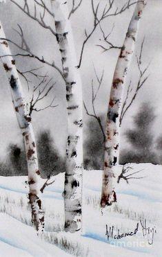 Birches Painting - Birches Fine Art Print More Watercolor Trees, Watercolor Landscape, Landscape Paintings, Watercolor Paintings, Watercolour, Landscapes, Winter Painting, Winter Art, Winter Tree Drawing