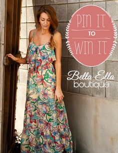 PIN IT TO WIN IT! Win this dress!!  How to Enter: 1. Must follow Bella Ella Boutique on Pinterest here http://www.pinterest.com/bellaellautah/ 2. Repin this pin    3.Winner will be announced on 7/16