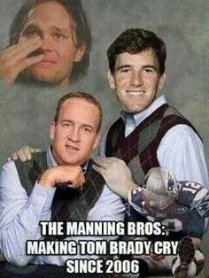 Maybe the last time Peyton Manning and Tom Brady meet in the playoffs resulted in the Denver Broncos hanging on to beat the New England Patriots, make the Super Bowl and get celebrated by a brilliant set of memes. Nfl Jokes, Funny Football Memes, Funny Nfl, Funny Sports Memes, Sports Humor, Football Humor, Funny Memes, Football Stuff, Football Shirts