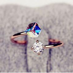 Crystal And Rhinestone Cuff Ring
