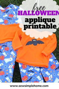Free Halloween Pajamas applique and FREE Bat Template Halloween Applique, Halloween Sewing, Halloween Prints, Halloween Fun, Halloween Decorations, Bat Template, Halloween Pajamas, Freezer Paper Stenciling, Pajama Pattern
