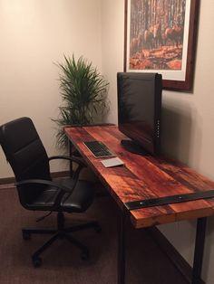 Industrial Desk. Reclaimed wood desk. Rugged desk. Wood and steel desk. Iron banded desk. Office desk. Work desk. Old wooden desk. by UrbanIndustrialNW on Etsy https://www.etsy.com/listing/259087202/industrial-desk-reclaimed-wood-desk