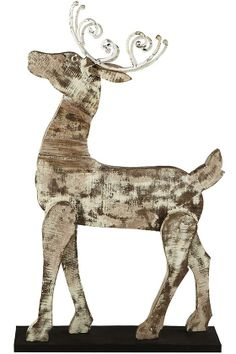 Whitewashed Barnwood Reindeer :: or newspaper on cardboard or other heavier material, washed w/white paint ... similar look?