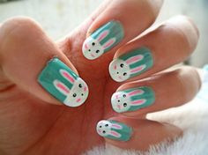 Cute Easy Bunny Nails - I would do the bunny on one nail instead of all of them