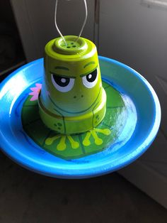 Excited to share the latest addition to my shop: hand painted bird feeders/ frog in a pond / fancy bird feeders/ outside decorations/ one of a kind gift idea Flower Pot Art, Clay Flower Pots, Flower Pot Crafts, Painted Clay Pots, Painted Flower Pots, Hand Painted, Flower Pot People, Clay Pot People, Clay Pot Projects