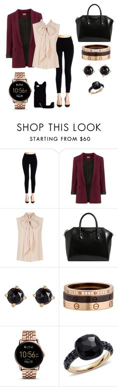 """Work outfit"" by mslisakristine ❤ liked on Polyvore featuring SPANX, MaxMara, Givenchy, Irene Neuwirth, Cartier, FOSSIL and Pomellato"
