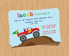 DIY- Boy Monster Truck Birthday Party Invitation   -Printable File-Coordinating Items Available 106. $8.00, via Etsy.