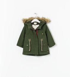 Zara - Overcoat With Hood Little Girl Fashion, Kids Fashion, Zara Parka, Girls Dream Closet, Girls Parka, Zara Official Website, Zara Baby, Green Coat, Kids Coats