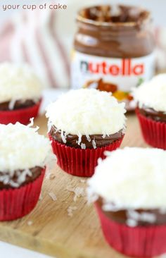 Coconut Nutella Cupcakes with Nutella ganache and coconut cream cheese frosting Nutella Ganache, Nutella Cupcakes, Peanut Butter Cupcakes, Coconut Frosting, Cupcake Frosting, Cream Cheese Frosting, Frosting Recipes, Cake Recipes, Low Calorie Cupcakes