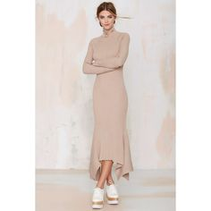 Nasty Gal Kozmic Ribbed Knit Maxi Dress (1 185 ZAR) ❤ liked on Polyvore featuring dresses, beige, cutout maxi dress, cut out maxi dress, rib knit dress, beige dress and mock neck dress