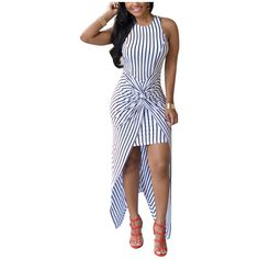 Yoins White Stripe Pattern Sleeveless Twist Front High Low Hem Maxi... ($27) ❤ liked on Polyvore featuring dresses, white, hi lo maxi dress, hi low maxi dress, sleeveless maxi dress, white maxi dress and white day dress