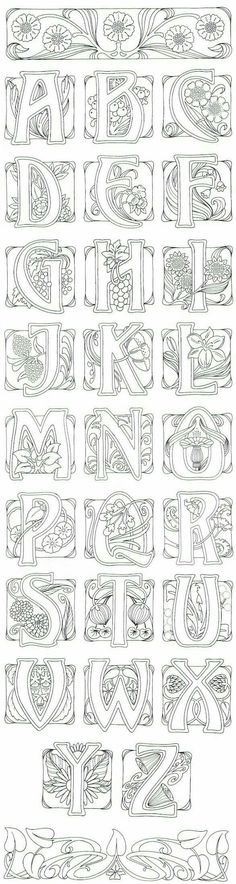 Art Nouveau- art journal idea: illustrate an alphabet. AMD - I adore this typography in art noveau style Colouring Pages, Adult Coloring Pages, Coloring Books, Alphabet Coloring, Doodles, Illuminated Letters, Letters And Numbers, White Letters, Embroidery Patterns