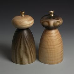 Salt and Pepper Mills - Rippled Maple and Fine Lines READY TO POST. £150.00, via Etsy.