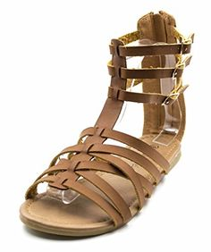 a2cf533d7af424 New Charles Albert Free Reign Women s Back Zip Buckle Gladiator Strappy  Vegan Leather Sandal (Wide Width) online. Find the perfect Clarks Sandals- shoes from ...