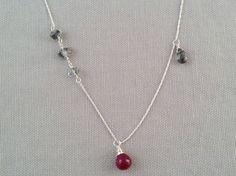 Handmade Necklace with Ruby drop, Tourmalated Qtz drop, Herkimer Diamonds by Indiana Jewelry Artist, Amber Bryce.