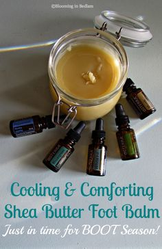 Cooling & Comforting Shea Butter Foot Balm- just in time for BOOT Season! I love my boots but at the end of the day my feet are hot, itchy and achy. This balm gives them the cooling moisture and protection your feet need after weeks on end in boots.