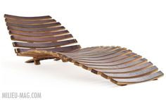 Wine barrel stave chaise lounge