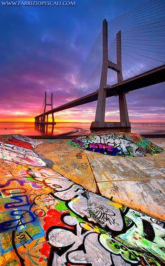 The merge of the opposite - Bridge Vasco da Gama, Lisbon, Portugal, 10th Feb 2013