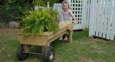 Allie pushing a platform cart Wheelbarrow, Picnic Table, Backyard Ideas, Garden Tools, Cart, Platform, Building, Projects, Home Decor