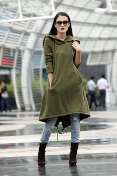 Army Green Hoodie Sweatshirt Cotton Fleece Hoodie Dress Top with Big Hood for Autumn and Spring - Custom made - Sweat Dress, Sweatshirt Dress, Look Fashion, Fashion Outfits, Womens Fashion, Sport Fashion, Fashion Clothes, Sport Outfits, Cool Outfits