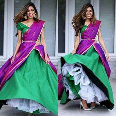 Well, you can do the can-can drape!! Checkout how! - BRIDE's ESSENTIALS Ghagra Saree, Lehenga Saree Design, Half Saree Lehenga, Lehnga Dress, Lehenga Style, Half Saree Designs, Sari Blouse Designs, Saree Draping Styles, Saree Styles