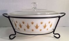 Vintage Glasbake 514 2 Quart with lid stand Gold Crowns Vintage Kitchenware, Gold Crown, Indiana Glass, Pyrex, Crowns, Federal, Golden Crown, Crown, Crown Royal Bags