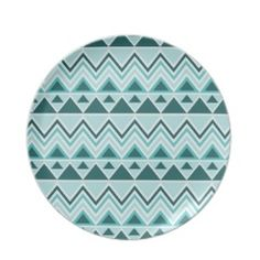 Aztec Andes Tribal Mountains Triangles Chevrons Dinner Plates