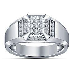 10K White Gold Gp 925 Silver Round Sim Diamond Nine Stone Men's Engagement Ring