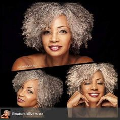 Beautiful natural gray hair (who sid gray int beautiful) Grey Curly Hair, Silver Grey Hair, Curly Hair Styles, Natural Hair Styles, Gray Hair, Curly Mohawk, Curly Girl, Curly Blonde, Ageless Beauty