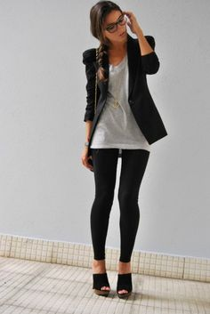 i like the idea of pairing a blazer with a long shirt and leggins