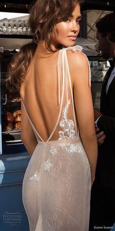elihav sasson 2018 capsule bridal sleeveless deep v neck heavily embellished bodice side open sexy elegant sheath wedding dress open v back chapel train (4) zbv