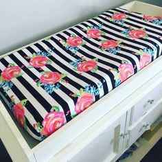 Black and white stripe changing pad cover  roses by GoodnightDoll