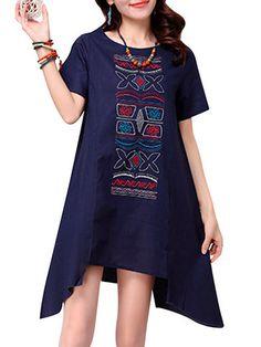 Cotton Women Vintage Embroidered Irregular Short Sleeve Loose Dress