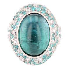 Nazarelle 14K W Gold 11.50ct Blue Tourmaline Diamond and Paraiba Tourmaline Ring For Sale at 1stDibs Columbian Emeralds, Baguette Diamond Rings, Blue Tourmaline, White Gold Rings, Blue Sapphire, Round Diamonds, Diamond Cuts, Gemstones, Jewelry