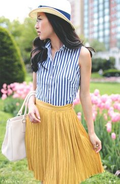 navy blue striped shirt with mustard color bottom