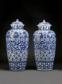 blue and white porcelain jars