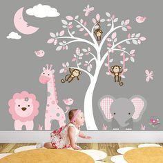 Safari Decal Blush Pink and Grey Nursery Jungle Girls Wall Stickers. Baby Room Wall Art, Baby Room Decor, Nursery Room, Nursery Wall Art, Nursery Decor, Jungle Wall Stickers, Girls Wall Stickers, Nursery Wall Stickers, Wall Decals