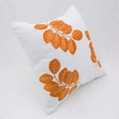 White Orange Decorative Throw Pillow Cover White Linen by KainKain