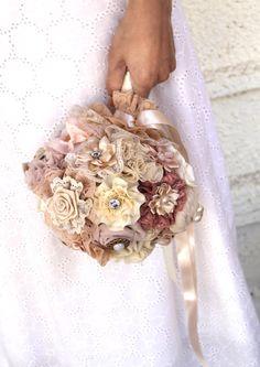 Champagne blush wedding Bouquet Fabric Bridal Bouquet DEPOSIT by MySecretFace on Etsy https://www.etsy.com/listing/151588958/champagne-blush-wedding-bouquet-fabric