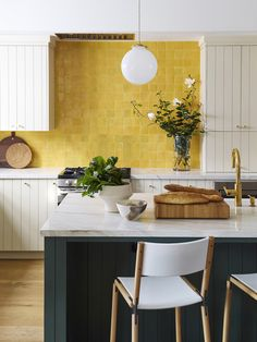 Room of the Week :: A Bold Yellow Backsplash Makes This Kitchen - coco kelley coco kelley