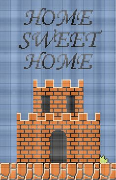 Super Mario Bros Home Sweet Home Cross Stitch Pattern by johloh, via Flickr