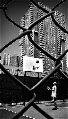 Black & white street basket