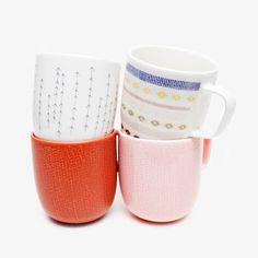 colorful dainty painted coffee mugs