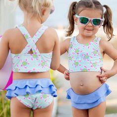 Turtle Tide Monogrammed Swimsuit Set  Toddler Girl Swimsuit